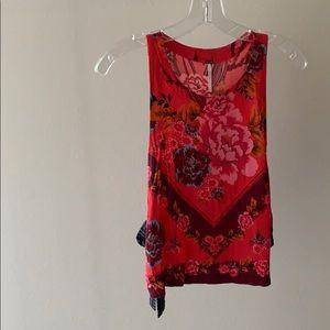 Free People (open tie sides) red flower crop top